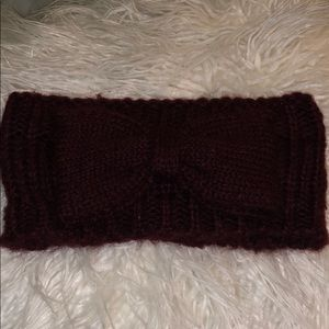 fuzzy burgundy headband with bow